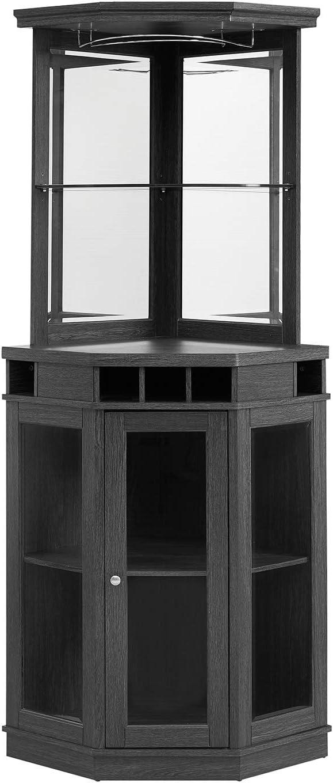 Home Source Corner Bar Unit, Charcoal