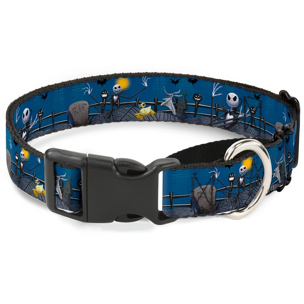 Buckle-Down MGC-WDY037-M Martingale Dog Collar-NBC Jack, Zombie Duck & Zero Cemetery Scene, 1  W-11-17  Neck-Medium