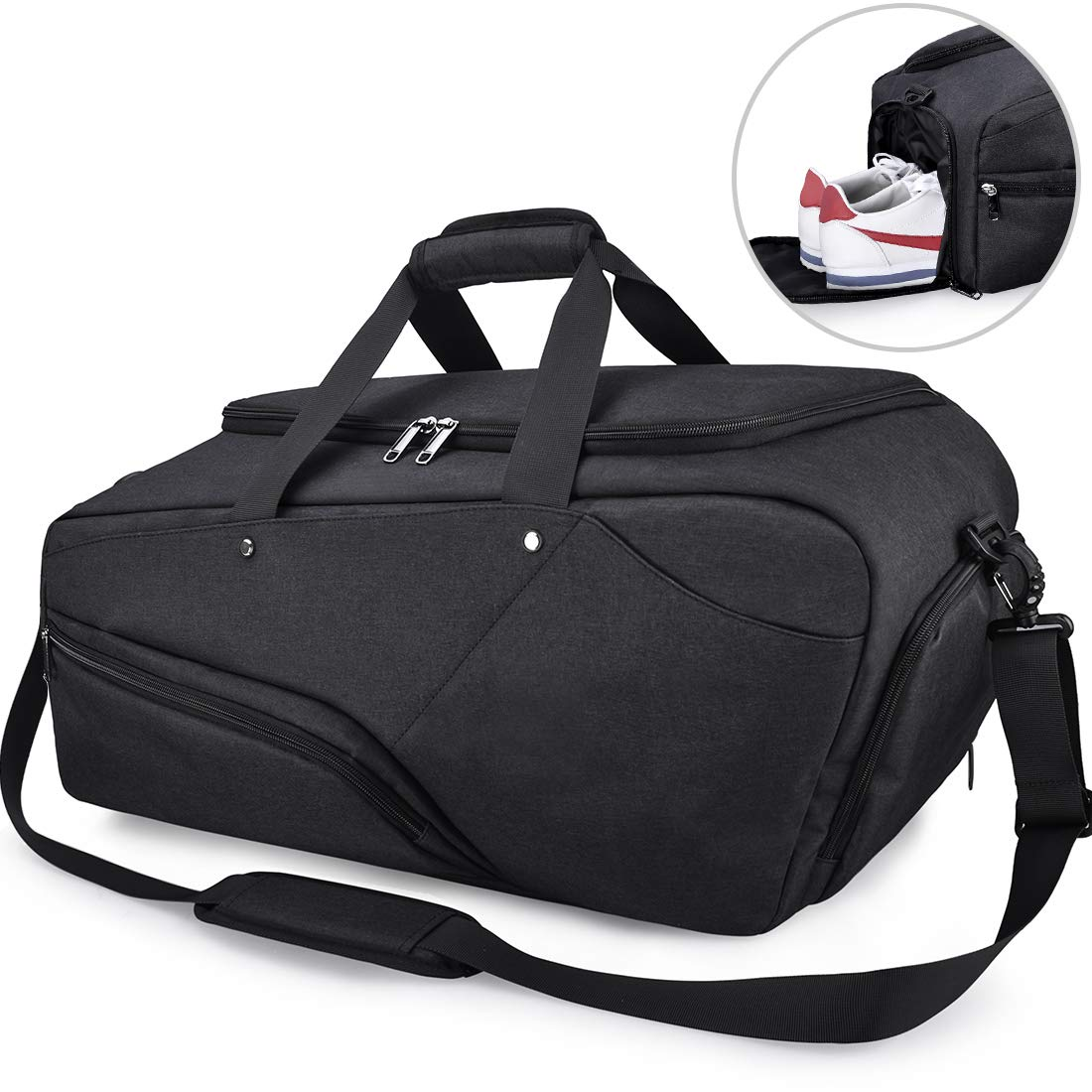 6999c0369420f5 Amazon.com | Gym Bag Sports Duffle Bag with Shoes Compartment Waterproof  Large Travel Duffel Bags Weekender Overnight Bag for Men Women 45L Black |  Sports ...