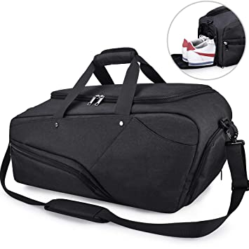 NUBILY Gym Bag Sports Duffle Bag with Shoe Compartment Waterproof Large  Travel Holdall Bags Weekend Bag 6d192a4a67c16
