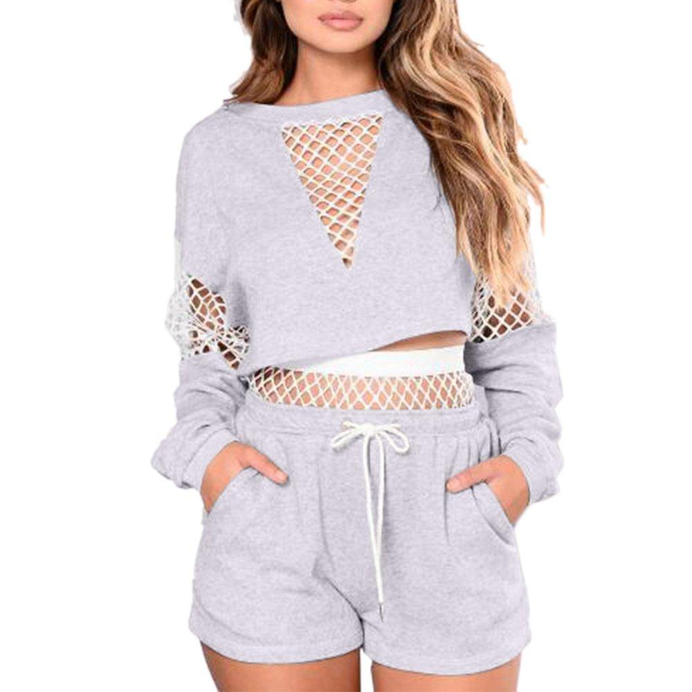 Yizenge Women's Casual 2 Piece Outfits Mesh Long Sleeve Crop Top Shorts Sweatsuits Set Tracksuits (S, Grey)