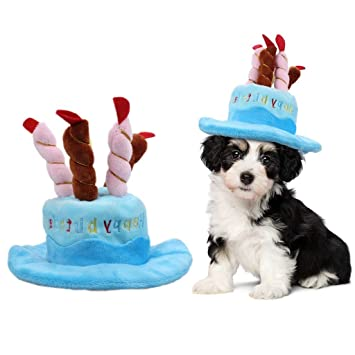 ASOCEA Dog Birthday Hat With Cake Candles Design Pet Costume Accessory For Puppy Dogs Cats