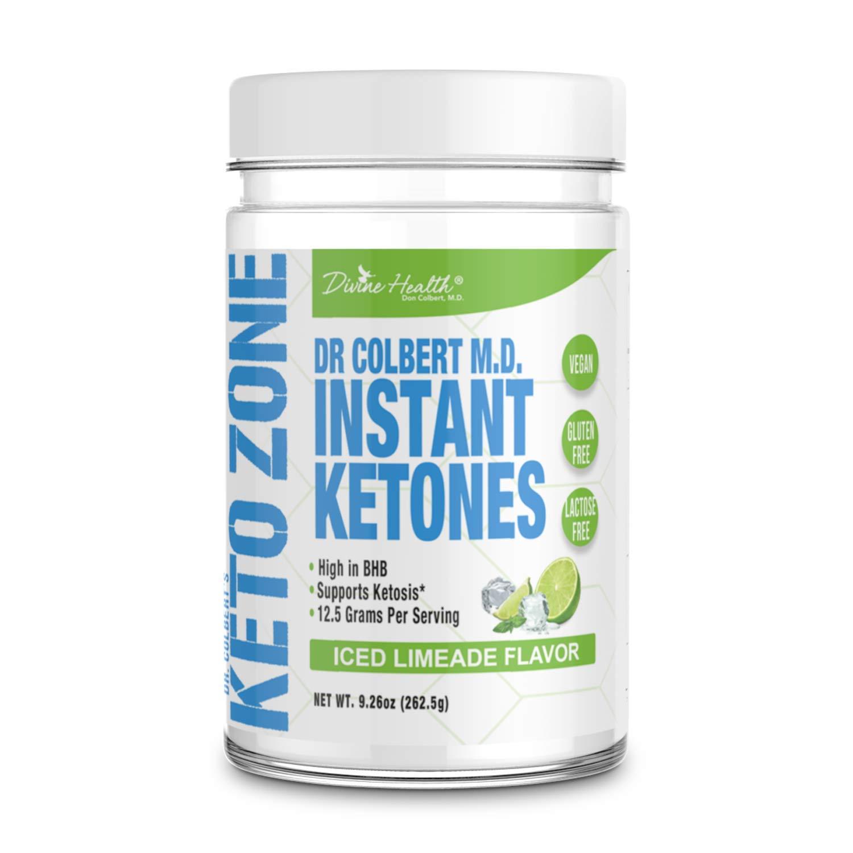 Dr.Colbert's Keto Zone Instant Ketones Powder | Limeade Flavor | Exogenous Ketones Powder | Ketone Salts | 12g BHB Powder per scoop (Beta-Hydroxybuturate) | Recommended in Dr. Colbert's Keto Zone Diet by Divine Health