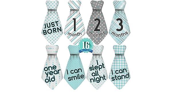 16 pegatinas mensuales para corbata de bebé, turquesa/gris. 12 ...
