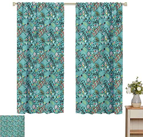 DIMICA Blackout Window Curtains Surfboard Tropical Composition Cocktail Ice Cream Floral Elements and Lettering 2 Panel Sets W108 x L84 Inch Turquoise Multicolor