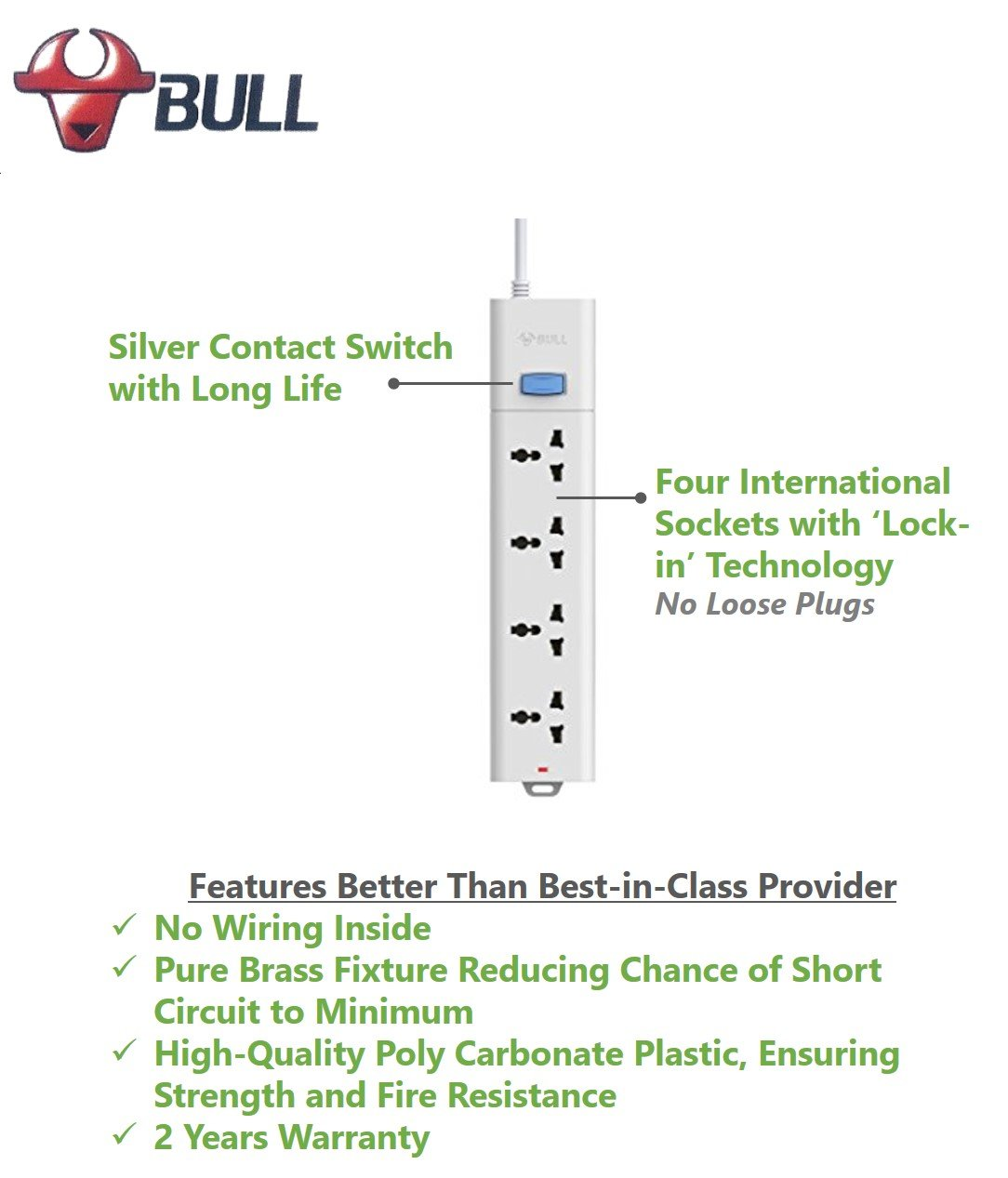 Bull 4 Socket1 Switch15 M Wire Extension Board With Circuit Short Testing Machine Quality Breaker White Copper Home Improvement