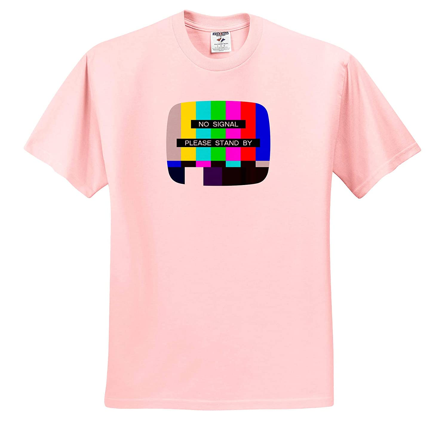 T-Shirts 3dRose Carsten Reisinger NTSC No Signal Please Stand by Test Screen Closedown Fun Design Illustrations