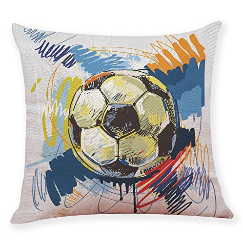 Sameno World Cup Football Soccer Soft Pillow Covers Set for Bedroom, Living Room, Couch Set of 9 (G)