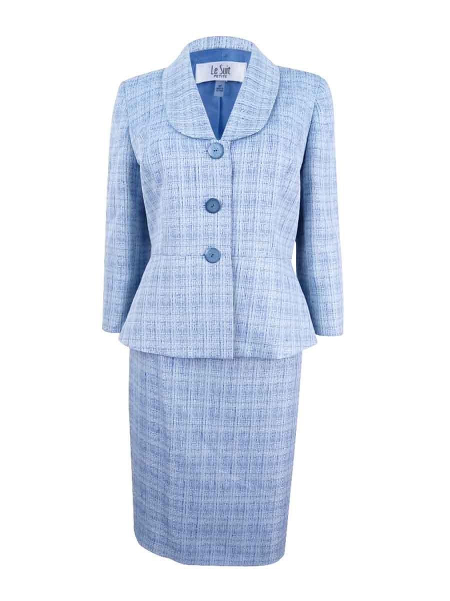 Le Suit Women's Petite Shawl-Collar Cross-Dyed Skirt Suit (10P, Bali Multi)