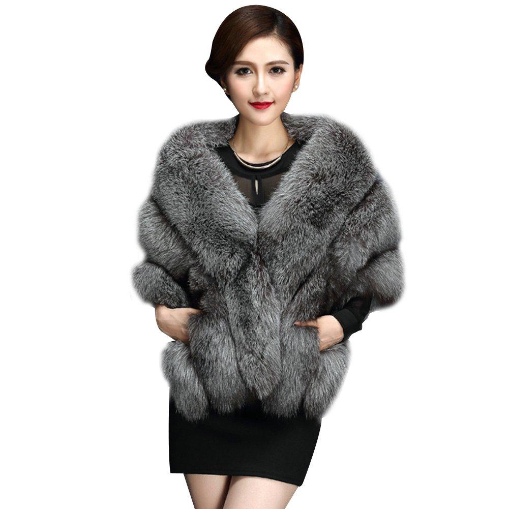 Elfjoy Luxury Faux Fox Fur Long Shawl Cloak Cape Wedding Dress Party Coat for Winter (Fox-silver)