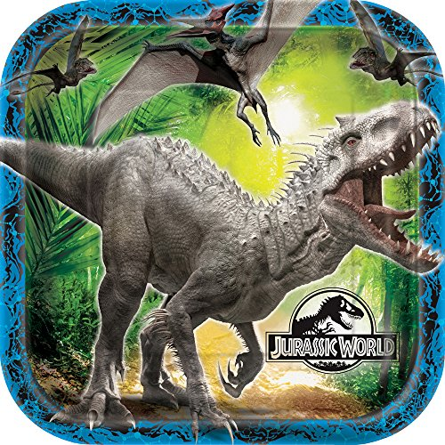 Square Jurassic World Dinner Plates, 8ct -