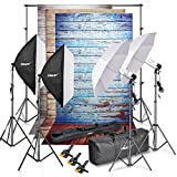 Emart 8.5x10ft Photography Backdrop Support System Kit and Vinyl Wood Floor Studio Background Screen(Blue, Rustic, White), Photo Video Studio 800W 5500K Umbrella Softbox Continuous Lighting Kit