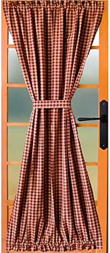 Home Collections by Raghu Heritage House Check Barn Red Unlined French Door Panel