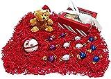 Christmas Teddy Bear Holiday Gift Box - Godiva Gourmet Chocolate Truffles, Plush Stuffed Animal & Ceramic Jingle Bell Tree Ornament