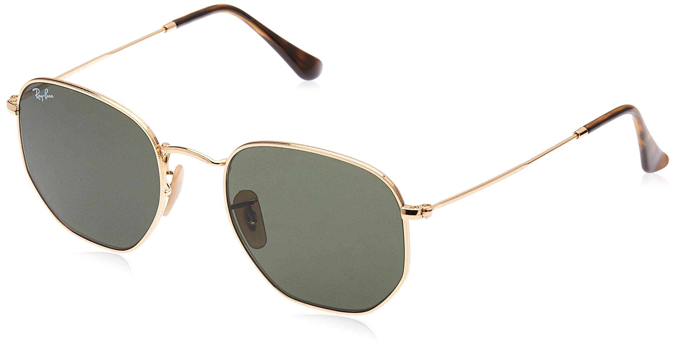 RAY-BAN RB3548N Hexagonal Flat Lenses Sunglasses, Gold/Green, 54 mm by RAY-BAN