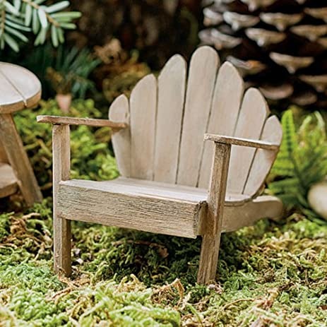 Amazing Miniature Fairy Garden Mini Adirondack Chair, Weathered
