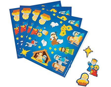 Christian Christmas Crafts.50 Small Christian Christmas Nativity Sticker Sheets For Kids
