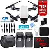 DJI SPARK Intelligent Quadcopter Drone Essentials Bundle (Alpine White) With DJI Spare Battery, Cleaning Kit, 32Gb High Speed Card, Custom Case And One Year Warranty Extension