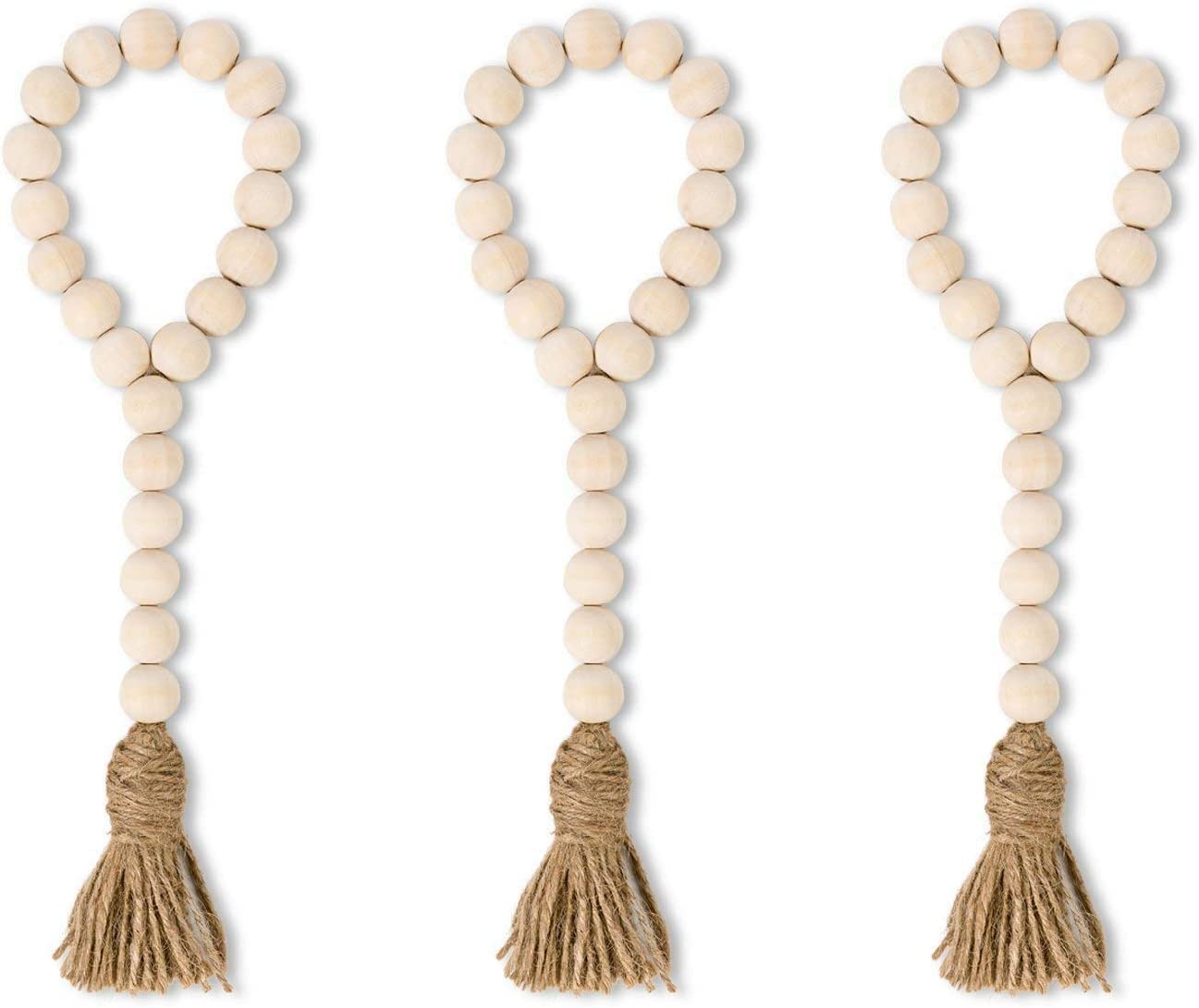 Jetec Farmhouse Wood Home Bead Garland Rustic Tassel Hanging Garland Natural Prayer Bead Garland Farmhouse Wall Hanging with Home Tag for Farmhouse Home Room Decorations
