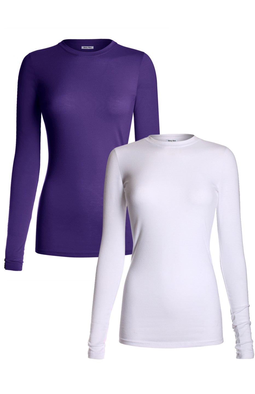 MedPro Women's Medical Scrub Solid Long Sleeve Undershirt Multi Pack White Purple L(TS-2000ASST)