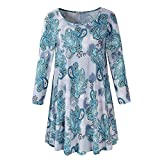 Womens Long Sleeve O Neck Shirts Fashion Floral Swing Hem Loose Tops Ladies Summer T-Shirt Blouse