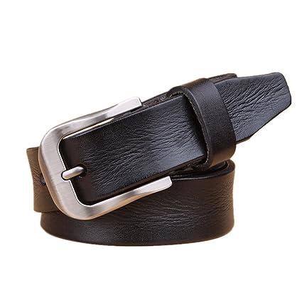 Aclth Hebilla Cuadrada Hebilla Cinturón Negro Cinturones Ocasionales del Vintage de la Correa de Cuero Genuina