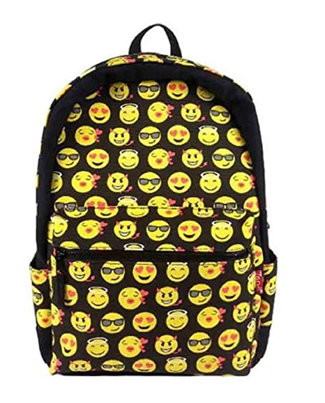 Drasawee Kids Cute Emoji Mochilas escolares los niños lienzo gran capacidad bolsa de hombro causal