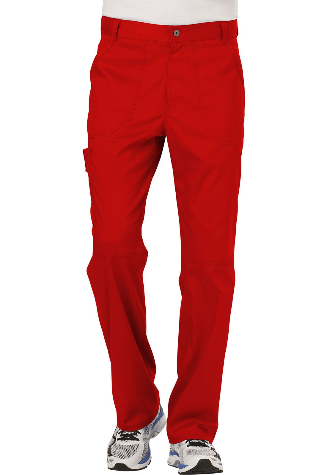 WW Revolution by Cherokee Men's Fly Front Pant Short, Red, 2XL
