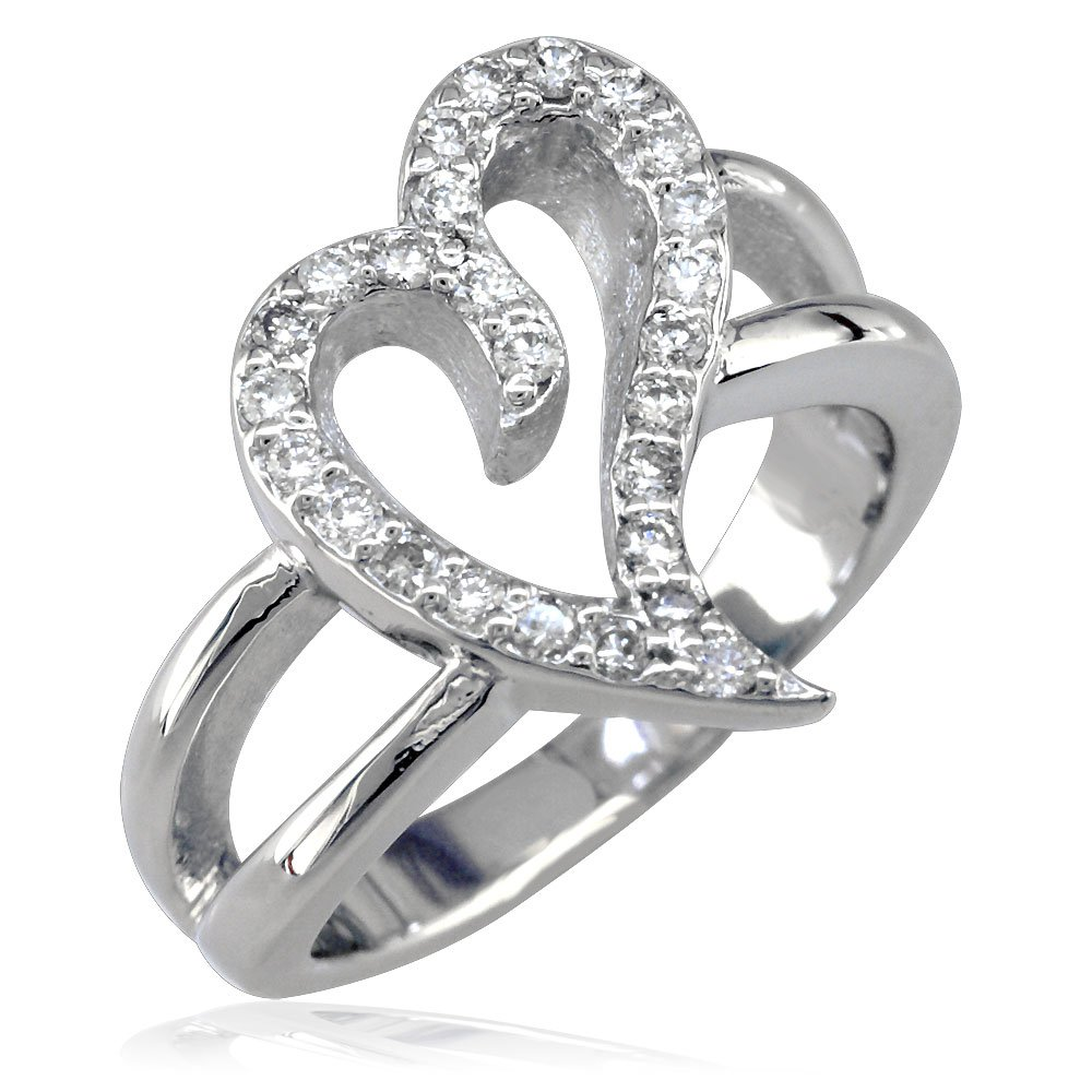 Wavy Heart Ring with Cubic Zirconias in Sterling Silver - size 8