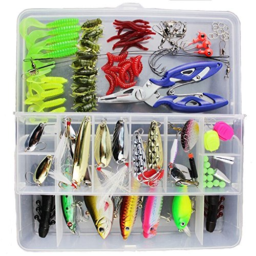 KMBEST Fishing Lures 101PCS/Box Mixed Lots including Hard Lure Minnow Popper Crankbaits VIB Topwater Diving Floating Lures Soft Plastics Worm Spoons Other Saltwater Freshwater Lures with Tackle Box