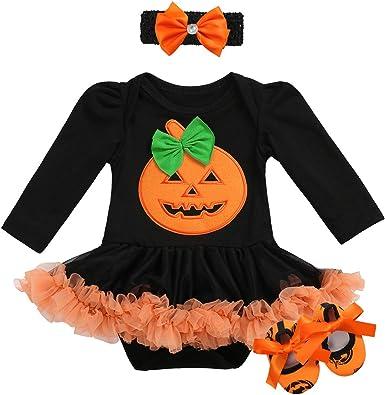 Halloween Costume Baby Girls Pumpkin Pattern Romper Dress+Headband Skirt Outfits