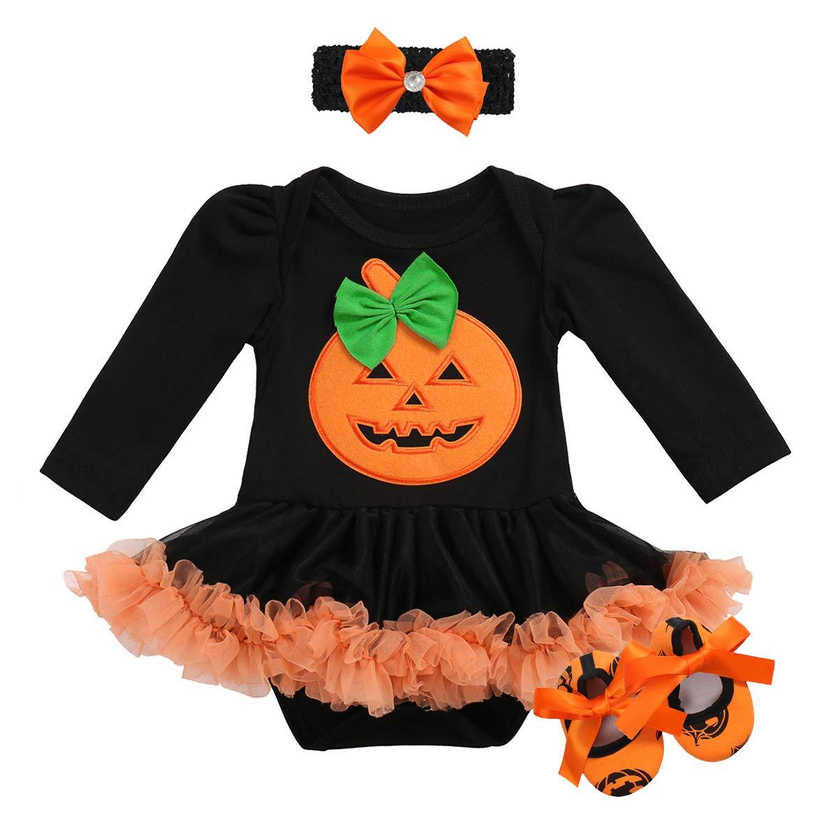 OwlFay My 1st Halloween Baby Girl Romper Dress Headband Shoes Tutu Outfits 2/3Pcs Set