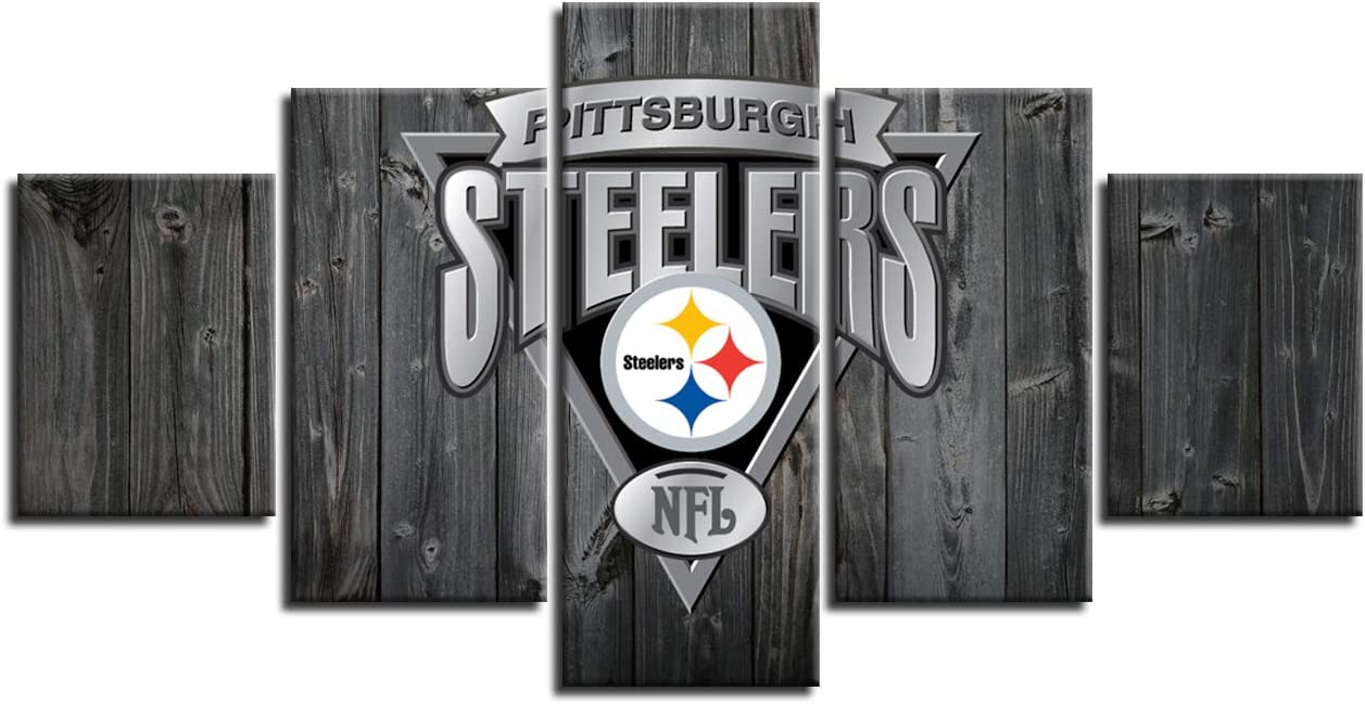 MIAUEN Pittsburgh Steelers Wall Pictures Canvas Art Poster Living Room Decor Sports Football Home Game Room Decoration Prints Framed Painting Ready to Hang(60''Wx32''H)