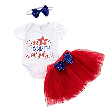 84e458cf3 Amazon.com: Baby Girl 4th of July Outfit Cozy Letter Printed Red White Blue  Romper Tutu Skirt Tops Headband Sets: Clothing