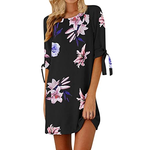 52da1ea7d00 BSGSH Women s Floral Print Tie Sleeve Shift Dress Casual Crew Neck Summer  Mini Dress (S