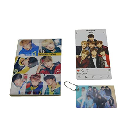 BTS Bangtan Boys 2019 Scheduler Schedule Book Planner Notebook with BTS Photo Card Key Chain, Instagram Card