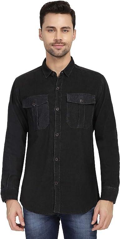 Nick&Jess Camisa de pana de manga larga para hombre, color negro: Amazon.es: Ropa y accesorios