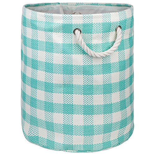 "Holiday Hamper - DII Woven Paper Basket or Bin, Collapsible & Convenient Home Organization Solution for Bedroom, Bathroom, Dorm or Laundry (Large Round - 15x20""), Aqua Checkers"