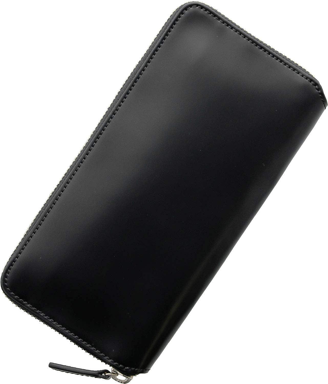 [ PRAIRIE ] プレリー 日本製 コードバン ラウンドファスナー 長財布 メンズ スリム 薄型 B07RV6FB2H ブラック