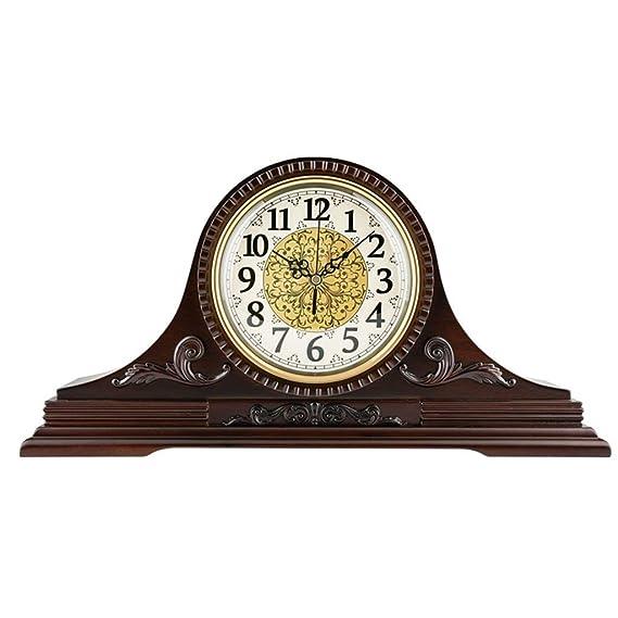 Amazon.com : Family Fireplace Clocks Luxurious Luxury Desktop Mute Quartz Silent Antique Wooden Carving Table Clocks for Living Room Villa Suitable for ...