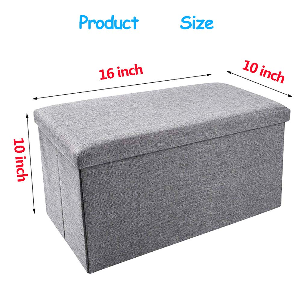 ENINFUT 2 Pack Storage Ottoman Polyester Folding Stool, Foot Rest Seat, Footstool, Clutter Toys Collection 16 x10 x10 2 Pack Khaki