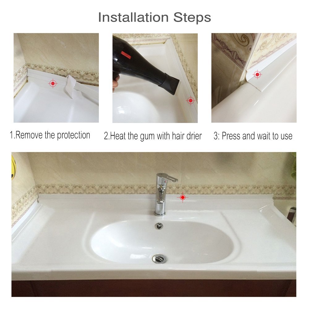 Bathtub Caulk Strip PE Self Adhesive Tub and Wall Sealing Tape Caulk ...