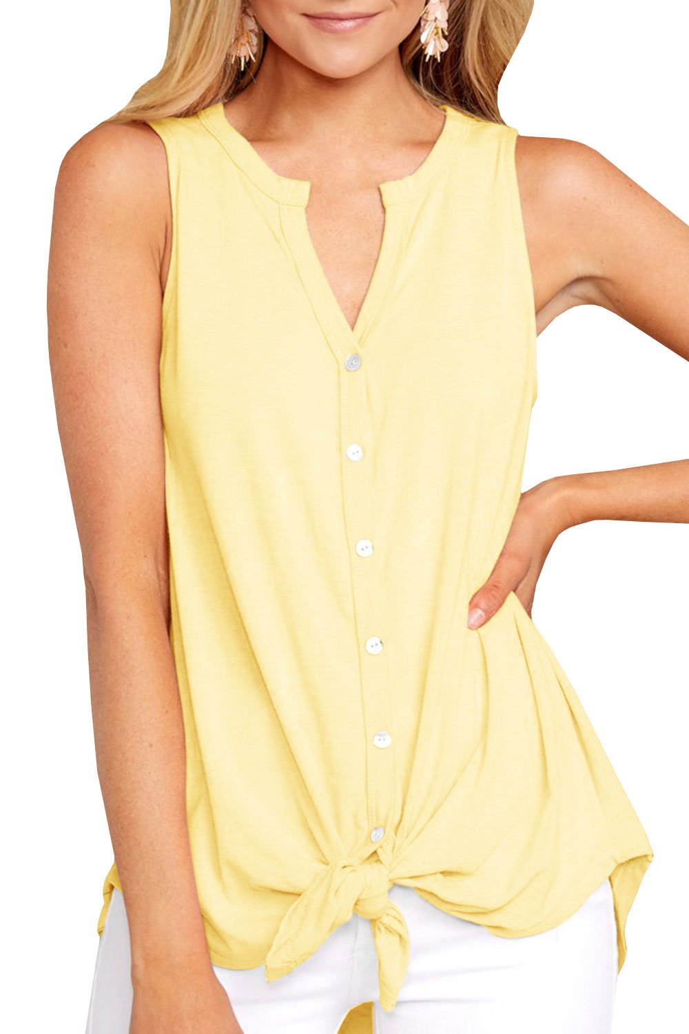 Inorin Womens Button Down Long Tank Tops Tie Front Summer Casual V Neck Sleeveless Tunic Shirts Yellow