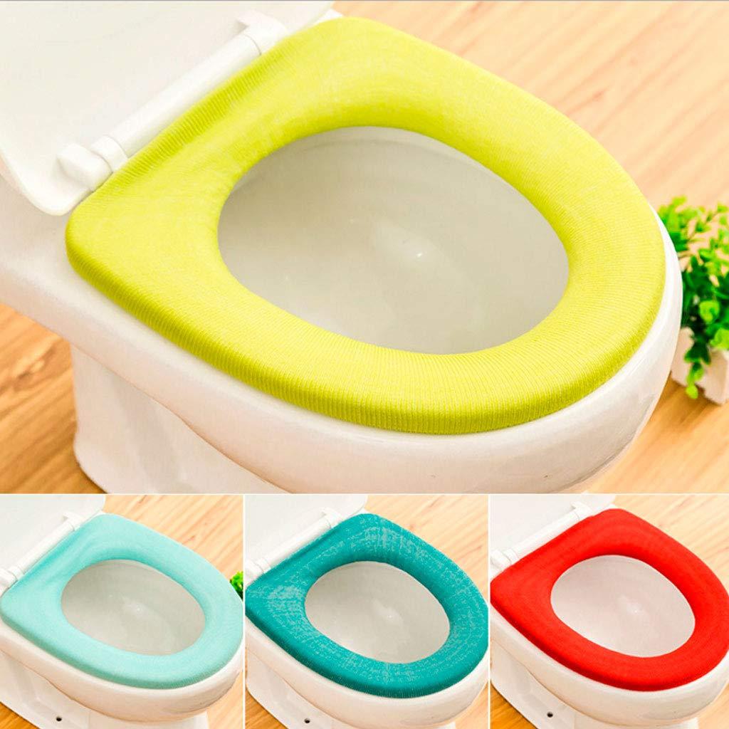 Dicker Matte Warmes YO-HAPPY Einfarbiger Toilettensitzbezug in O-Form mit elastischer weiches Toilettenkissen aus Acryl