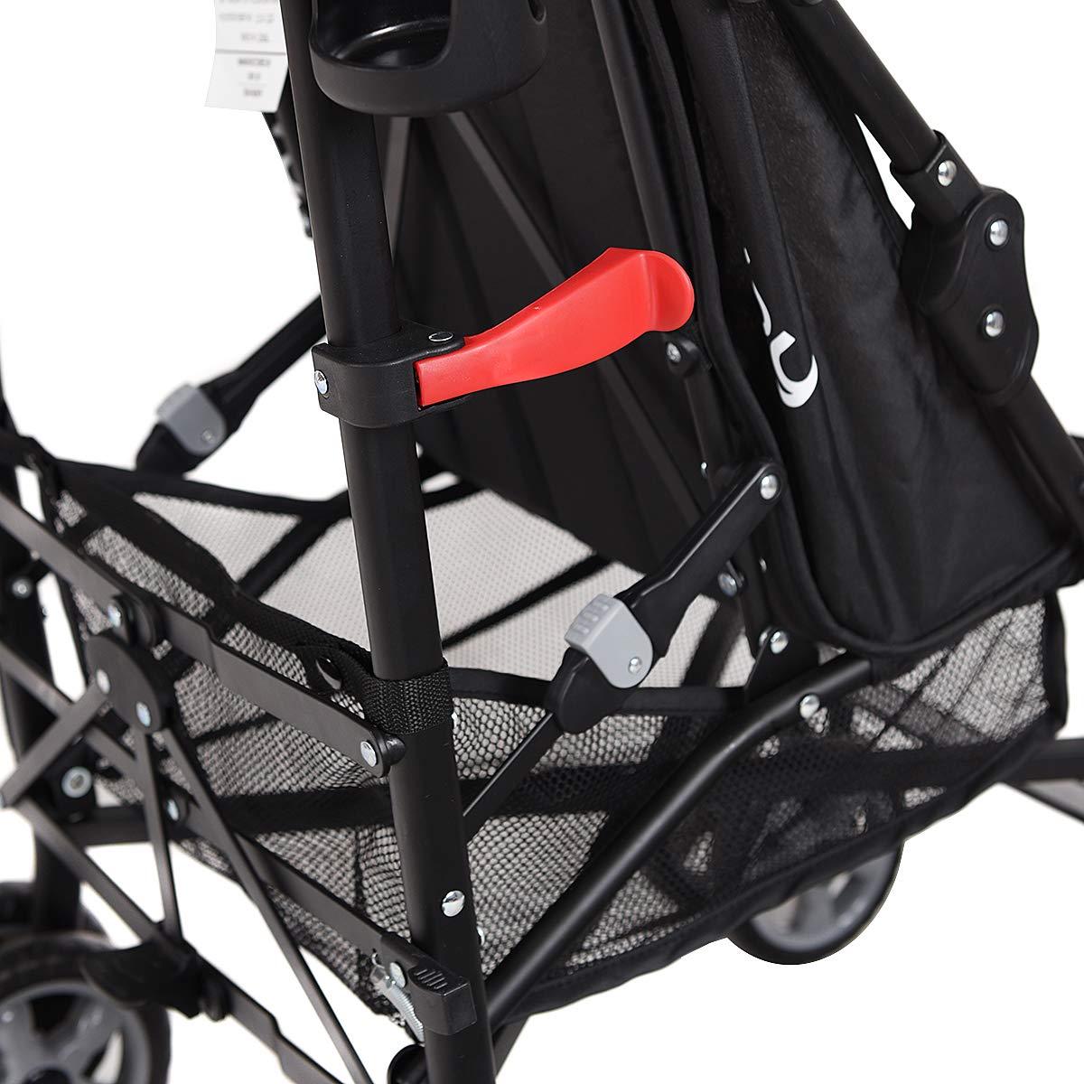 INFANS Lightweight Baby Umbrella Stroller, Foldable Infant Travel Stroller with 4 Position Recline, Adjustable Backrest, Cup Holder, Storage Basket, UV Protection Canopy, Carry Belt (Orange) by INFANS (Image #8)