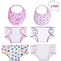 DC-BEAUTIFUL 4 Pcs Doll Diapers Doll Underwear and 2 Pcs Doll Bibs for 14-18 Inch Baby Dolls, American Girl Doll