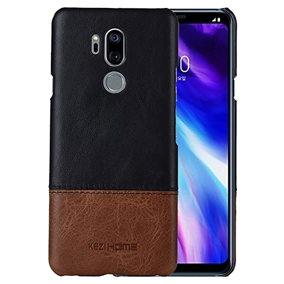 size 40 e03cc 22f70 LG G7 Case/LG G7 ThinQ case,Two Colors Vintage Genuine Leather Back Cover  for LG G7 ThinQ (Black)