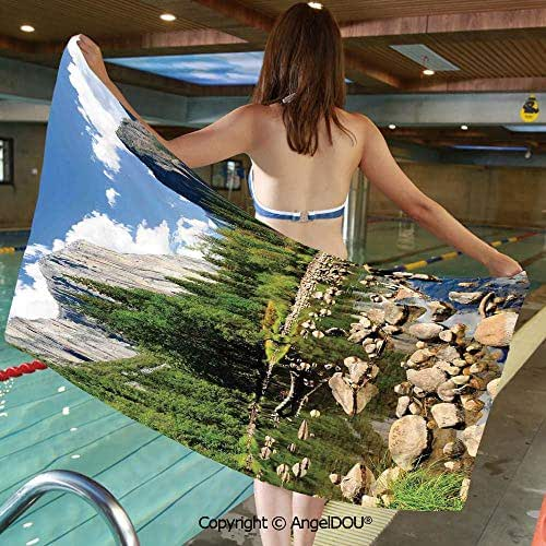 AngelDOU Large Gym Sport Swimming Pool Towel Fluffy Clouds Forest Stones River Yosemite National Park California USA Waterscape Microfiber Beach Towel Women Men.W13.7xL27.5(inch)