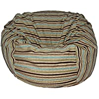 Ahh! Products Chenille Stripe Coastal Washable Bean Bag Chair, Large