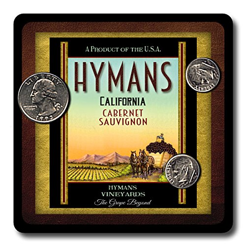 Hymans Family Vineyards Neoprene Rubber Wine Coasters - 4 Pack